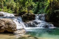 在占巴塞省省,老挝的瀑布 库存图片