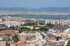 在卡利亚里,撒丁岛,意大利盐溶舱内甲板 免版税库存图片