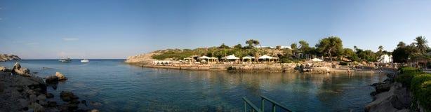 在卡利地亚海湾的全景在希腊海岛罗得岛上 免版税图库摄影