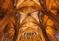向尺侧皮专栏曲拱哥特式宽容巴塞罗那的大教堂扔石头 免版税库存图片