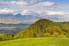 在卡姆尼克萨维尼亚河阿尔卑斯的山风景 图库摄影