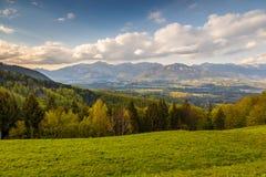 在卡姆尼克萨维尼亚河阿尔卑斯的山风景 免版税库存照片