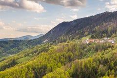 在卡姆尼克萨维尼亚河阿尔卑斯的山风景 库存图片