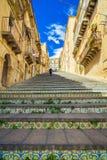 在卡尔塔吉龙,西西里岛的著名步 库存照片