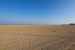 在卡尔瓦多斯部门的多维尔海滩在诺曼底地区在法国 多维尔是一种有名望的手段 在美丽的鸟云彩之上颜色及早飞行金子早晨本质宜人的平静的反映上升海运一些星期日 库存照片