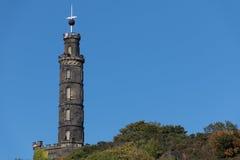 在卡尔顿小山的Nelsons纪念碑在爱丁堡苏格兰 免版税库存图片