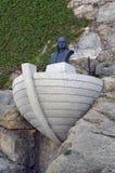 在卡尔维市的克里斯托弗・哥伦布雕象在可西嘉岛海岛上在法国 免版税库存照片