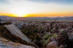 在卡帕多细亚的红色谷或日落点,安纳托利亚,土耳其 免版税库存照片