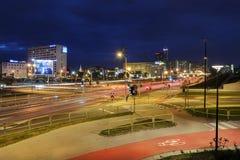 在卡托维兹,波兰交易在晚上 免版税库存照片