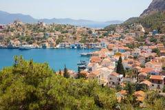 在卡斯特洛里佐岛希腊海岛上的美好的风景  免版税库存照片