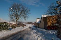 在卡斯特鲁普丹麦村庄种田在丹麦 免版税库存图片