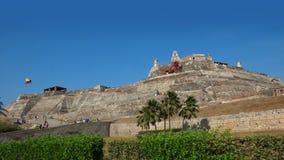 在卡斯蒂略圣费利佩de巴拉哈斯的活动是一个堡垒在市卡塔赫钠 免版税库存照片