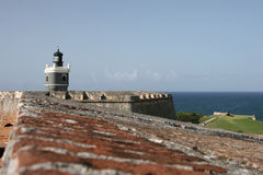 在卡斯蒂略圣费利佩del Morro的灯塔 免版税库存图片