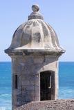 在卡斯蒂略de圣克里斯托瓦尔的Garita在圣胡安 库存照片