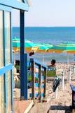 在卡斯蒂廖内德拉佩斯卡伊阿的海滩 免版税图库摄影