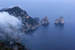 在卡普里岛的看法在意大利 免版税库存图片