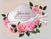 在卡片的罗斯软的桃红色颜色 免版税库存照片