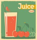 在卡片背景的红色樱桃汁 传染媒介葡萄酒例证 免版税库存照片