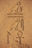 在卡纳克神庙寺庙复合体,勒克斯墙壁上的古老象形文字  图库摄影