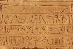 在卡纳克神庙寺庙复合体,勒克斯墙壁上的古老象形文字  库存图片