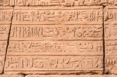 在卡纳克神庙寺庙,卢克索,埃及墙壁上的象形文字  库存图片