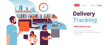 在卡车拖车跟踪交付货物概念拷贝的高速公路路的人们间隔平水平 库存例证