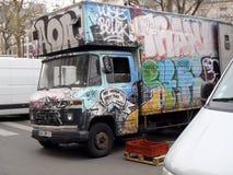 在卡车的Graffitti 免版税库存照片