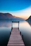 在卢加诺湖的日落 免版税库存照片