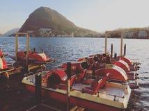 在卢加诺附近湖的一美妙的天  瑞士 免版税库存图片
