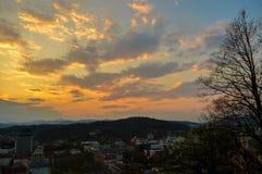 在卢布尔雅那,斯洛文尼亚的美好的日落 免版税库存照片