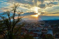在卢布尔雅那,斯洛文尼亚的美好的日落 库存照片