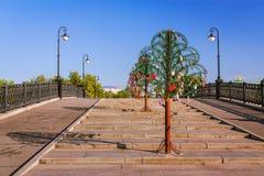 在卢日科夫桥梁的金属树 库存图片