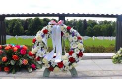 在卢森堡美军公墓和纪念馆的花圈 库存图片