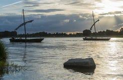 在卢瓦尔河的传统小船 免版税图库摄影