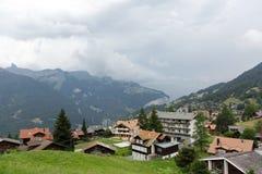 在卢达本纳,瑞士附近的美好的风景 图库摄影