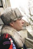 在卫兵的外形的顶头射击在布拉格城堡的 免版税图库摄影