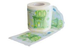 在卫生纸卷打印的钞票100欧元 库存图片