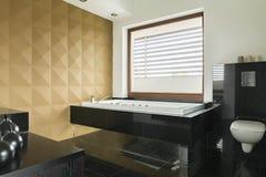 在卫生间内部的皇家浴缸 免版税库存照片