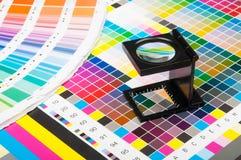 在印刷品生产的颜色管理 库存照片