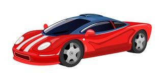 在印刷品的,卡片,在动画片样式的海报白色背景隔绝的赛车象 赛跑跑车例证的红色传染媒介 皇族释放例证