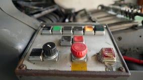 在印刷术的葡萄酒老打印机器控制按钮 4K 股票录像