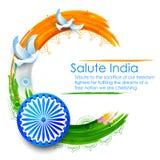 在印地安三色旗子背景的鸠飞行 免版税库存图片