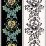 在印地安地面的无缝的垂直的样式 在黑白背景的手拉的mehndi纹身花刺乱画边界 免版税库存图片