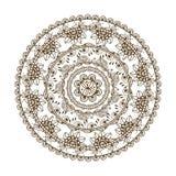 在印地安样式的传染媒介花卉坛场 Mehndi装饰物花 手拉的种族样式 库存图片