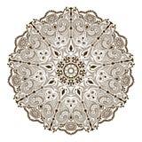 在印地安样式的传染媒介花卉坛场 Mehndi装饰物花 免版税库存照片