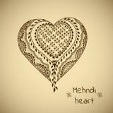 在印地安样式的传染媒介装饰品 Mehndi装饰物心脏 免版税图库摄影