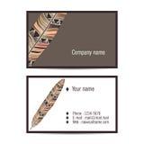 在印地安样式的创造性的参观卡片与羽毛 库存图片