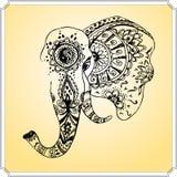 在印地安样式mehndi,手图画的抽象大象 图库摄影