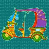 在印地安艺术样式的自动人力车 向量例证