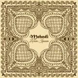 在印地安装饰样式的传染媒介背景 Mehndi花饰 手拉的种族样式 免版税库存照片